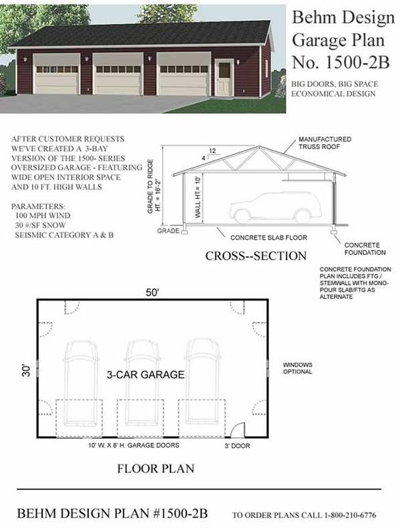 Garage plan no 1500 2b by behm design 50 39 x 30 39 has the for Garage plans with lift