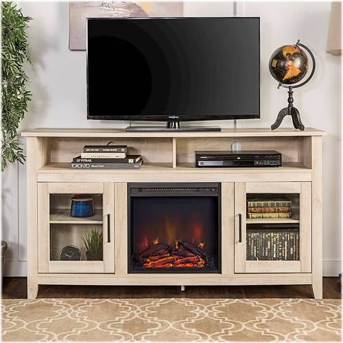 Walker Edison Tall Fireplace Cabinet Tv Stand For Most Flat