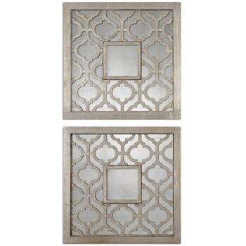 """Sorbolo Silver Square Mirror We could do 4 on your wall we have slated for mirror collage $65/each 20"""" X 20"""" at Chintz"""