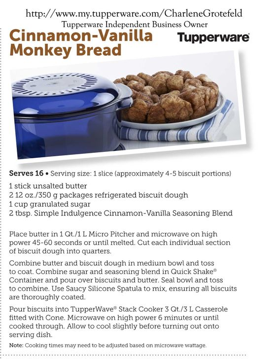 Click on pin to go to blog to print or get a PDF of recipe to keep. Monkey Bread Recipe Honey Oddments Cottage: Cinnamon-Vanilla Monkey Bread Microwave Tupperware Recipe #tupperware