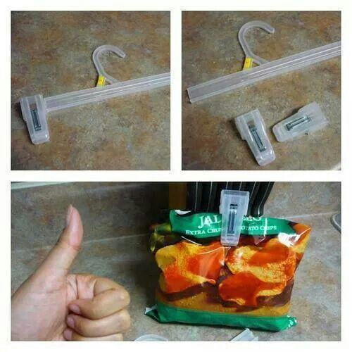 Pince pour tenir les sacs de chips fermés.
