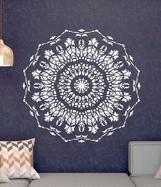 Wall stencil mandala stencil unique design wall for Pochoir mural design