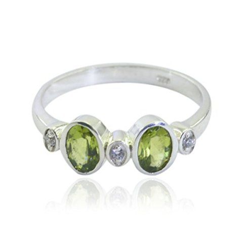 Sterling Silver Green Peridot Nice Gemstone Ring Nice Gemstone  Peridot ring daughter jewelry gift for husband personalized