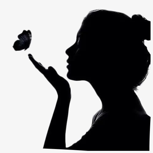 Girl Side Face Black Butterfly Long Hair Png Transparent Clipart Image And Psd File For Free Download Woman Face Silhouette Silhouette Drawing Girl Silhouette