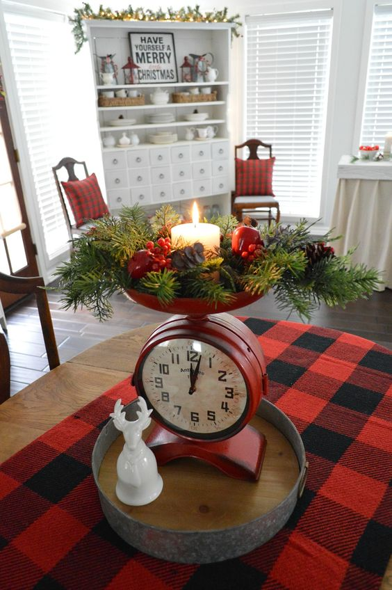 Cottage Christmas Home Tour - Sun Room Apothecary Cabinet, Merry Little Christmas Wood Sign, Buffalo Check & Plaid Accents, Vintage Style Clock Scale. Fox Hollow Cottage Holiday Home Tour.: