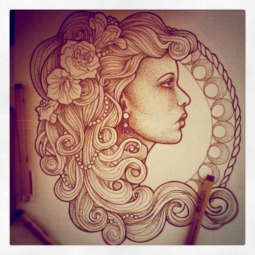 Gypsy Art Nouveau Women | Gypsy Woman Tattoo Flash Gypsy woman