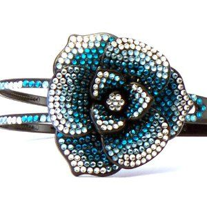 Bling Bling! Flower HeadBand with Light Blue Rhinestones. Perfect for Women, Teens & Girls, Bling Bling Hair Accessory