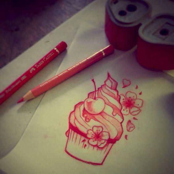 tiny cupcake tattoo cherry blossom girlstuff