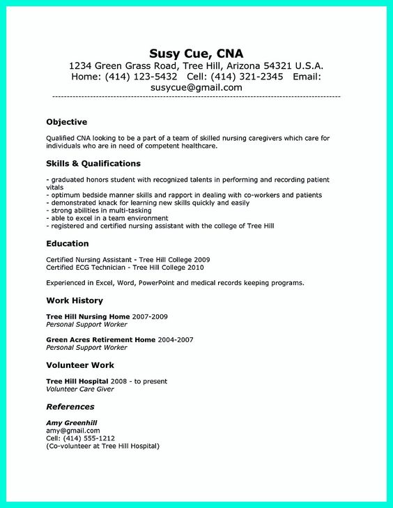 Impress the Employer with Great Certified Nursing Assistant Resume  Image  Name