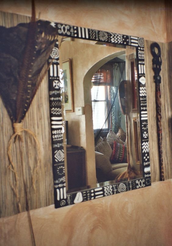 african mirror images | the african frame handpainted in traditional african symbols sold