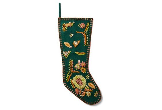 "19"" Flower Wool Felt Stocking, Green:"