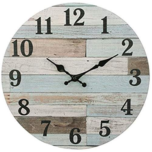 Stonebriar Vintage Coastal Worn Blue 14 Inch Round Hanging Wall Clock Battery Operated Rustic Wall Dec Rustic Wall Clocks Blue Wall Clocks Vintage Wall Clock