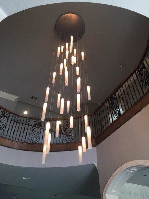 Amazing Modern Two Story Staircase Chandelier Led Grey White F Etsy Staircase Chandelier Modern Chandelier Foyer Foyer Decorating