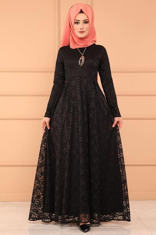 Modaselvim Elbise Pileli Dantel Elbise 5541mp186 Siyah Women Dress Sale Muslim Dress Dresses