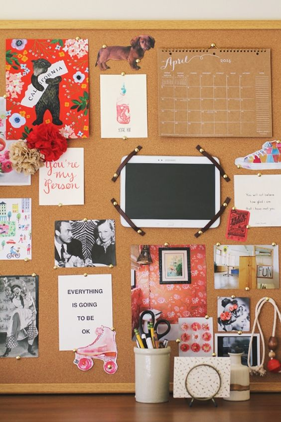 Inspired by pretty office inspiration boards tablet for Pretty bulletin board