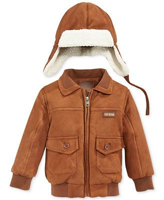 GUESS Baby Boys&39 2-Piece Bomber Jacket &amp Hat Set | Babies and