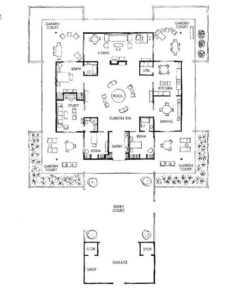 Open house plan, nice balance of shared and private spaces, inside & out. http://www.nywf64.com/hougt04.shtml