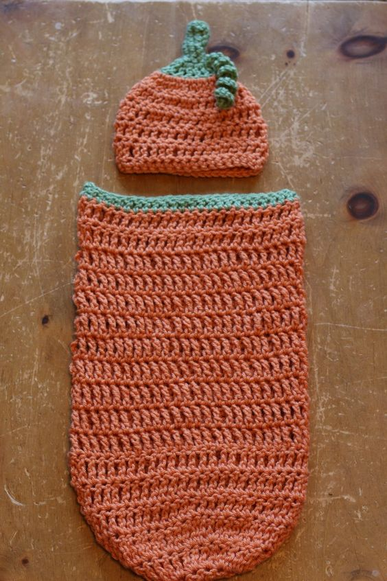 Free Crochet Pattern For Pumpkin Baby Cocoon With Hat : Crochet pumpkin cocoon and hat free pattern ? Pinteres?