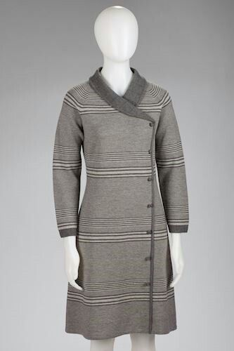 Grey knitted dress, made by Edda Azzola, circa 1968 for herself and passed on to her daughter-in-law when she could no longer wear it.