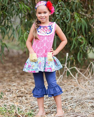 Giggle Moon Pure in Heart Mabel Dress with Capri Leggings up to size 7. Click to see details on pre-ordering.