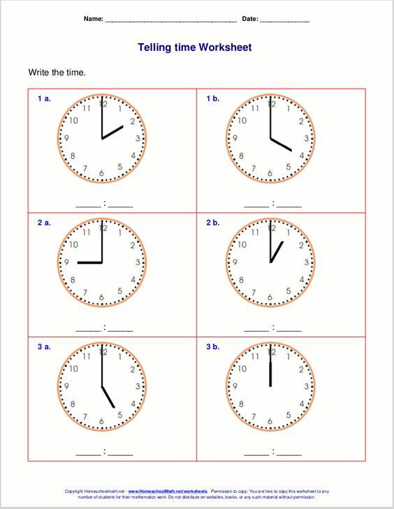 telling time worksheets for 1st grade kindergarten math pinterest 1st grades telling time. Black Bedroom Furniture Sets. Home Design Ideas