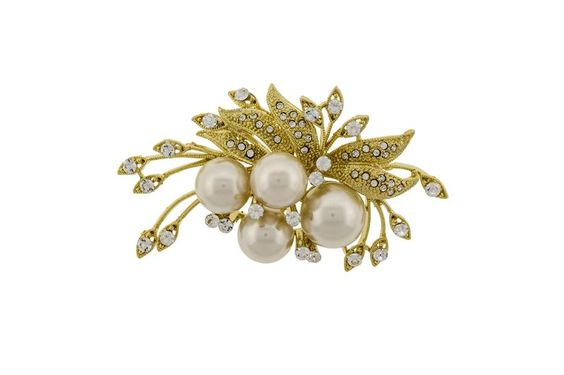 Pin this Brooch to your favorite outfit. The faux White Pearls and Crystal Clear Elements decorate the Gold leaves and pods of this Elegant Brooch.