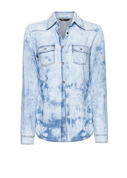 MANGO - Tie-dye denim shirt