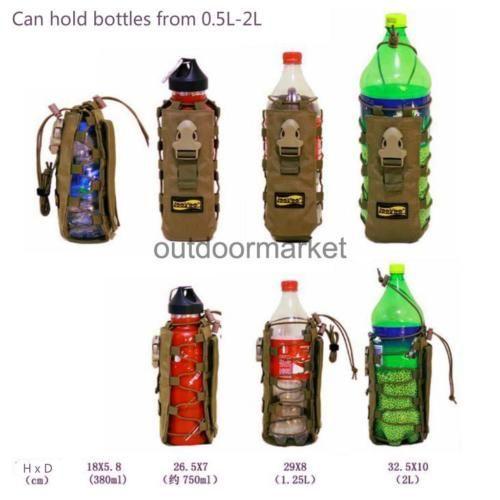 Tactical Black Molle Storage Bag Water bottles Stoves Prepper Bushcraft Survival