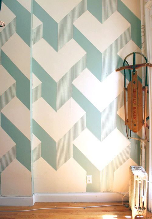 This Painted 3d Cube Design Is So Amazing I Honesty Love It More Than Any Geometric Wallpaper I Ve Seen And It S Aw Wall Paint Designs Wall Design Wall Deco