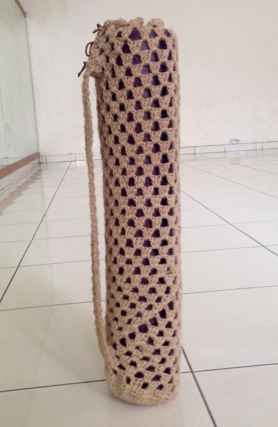 Crochet jute granny yoga mat bag
