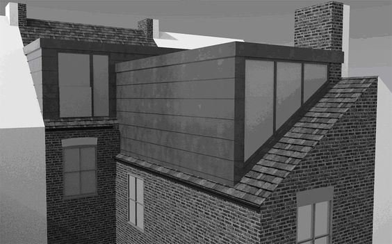 An illustration of a L-shaped dormer loft conversion