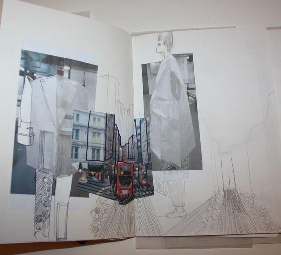 Fashion Sketchbook - architecture inspired fashion design, mirroring shapes & lines seen in buildings; fashion portfolio // Ernesto Naranjo
