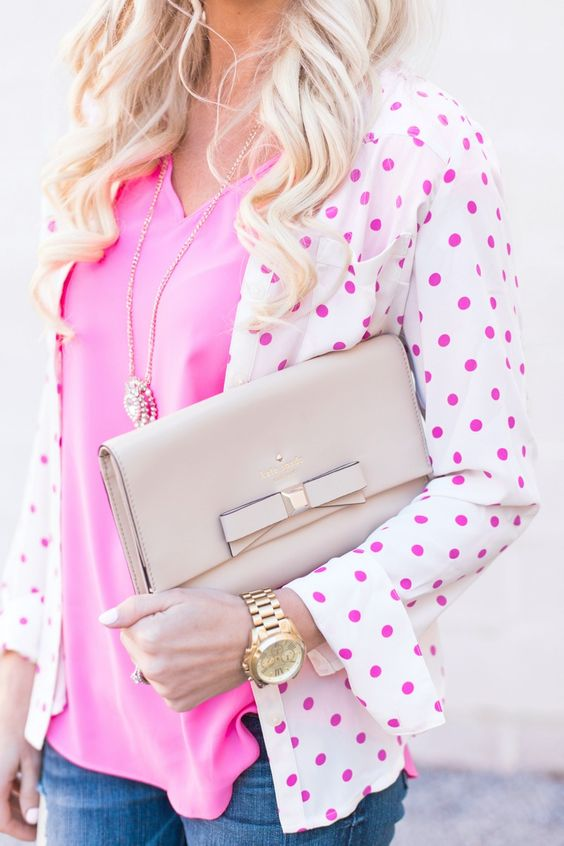 Pink + Pink Polka Dots ~ What an adorable Belle outfit!: