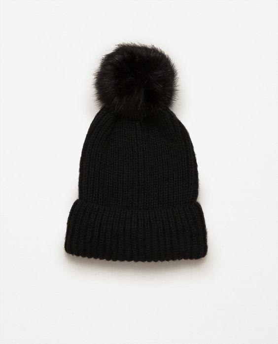 Image 1 of RIB KNIT HAT WITH POM-POM from Zara