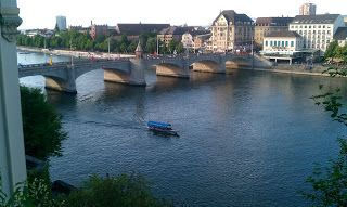 A view of the Rhine from Basel's old town during an evening run, on this great route