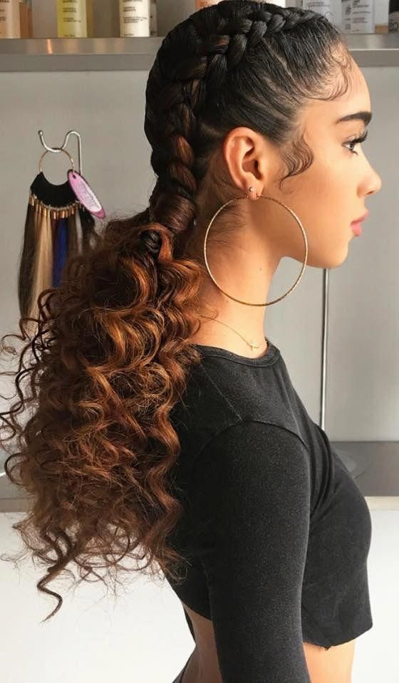 2 French Braids W Curly Ponytails Curlyhairstyles Two Braid Hairstyles Weave Hairstyles Braided Hair Styles