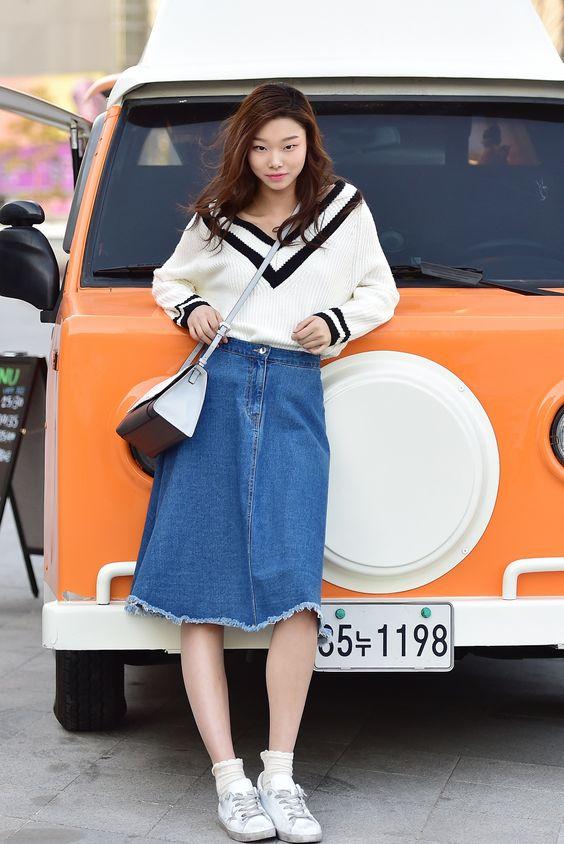 ผลการค้นหารูปภาพสำหรับ Midi Skirt ยีนส์