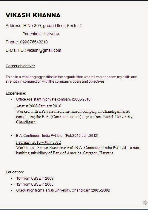 english cv template Sample Template Example ofExcellent Curriculum - indian resume format for freshers