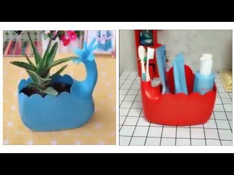 جميل إعادة تدوير علب البلاستيك Youtube Diy Crafts Crafts Crafty