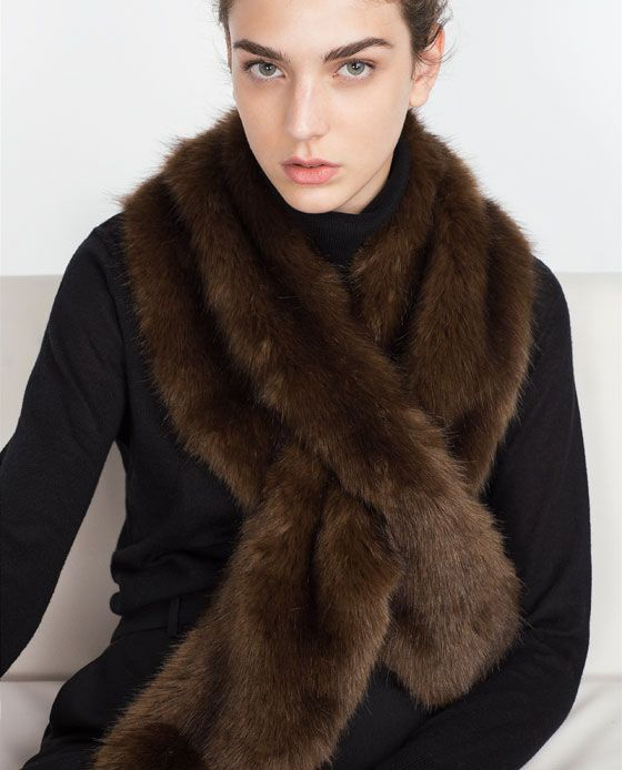 ZARA - WOMAN - SOFT FURRY STOLE - in brown and ecru