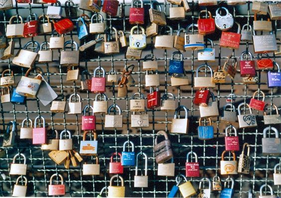 Allover. I read that this is on the fence of a bridge over the Rhine. Couples put a lock on the fence and throw the key into the river. Romantic