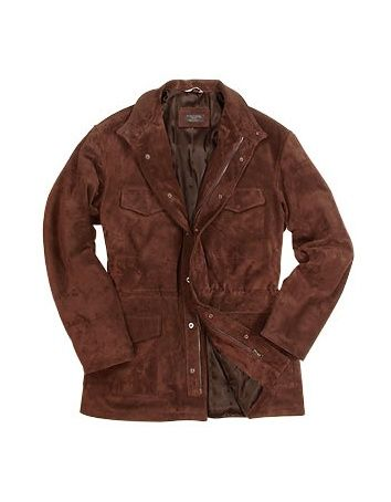 Men's Brown Four Pocket Italian Suede Leather Jacket - Forzieri