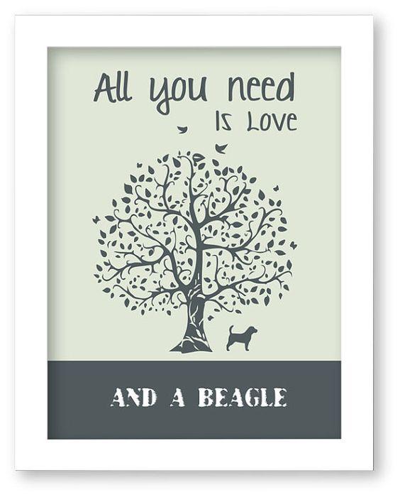 Beagle Art Print, All You Need Is Love And A Beagle, Tree, Modern Wall Decor, Beagle Lovers Gift