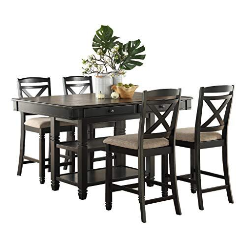Homelegance 5 Piece Counter Height Dining Table Set Black Natural Counter Height Dining Table Set Counter Height Dining Table Dinning Table Set 5 piece counter height dining set black