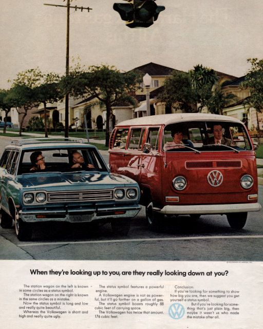 1970 Volkswagen Station Wagon bus van print ad Red and by Vividiom