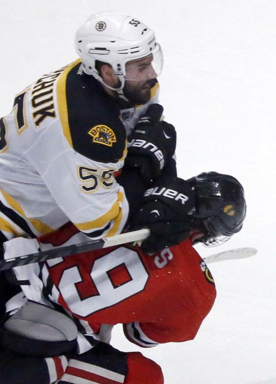 Boychuk's hit on Toews. The Bruins are a big physical team, and they do this well. Boychuk was responsible for letting in the game winning goal.  Thanks Johnny.