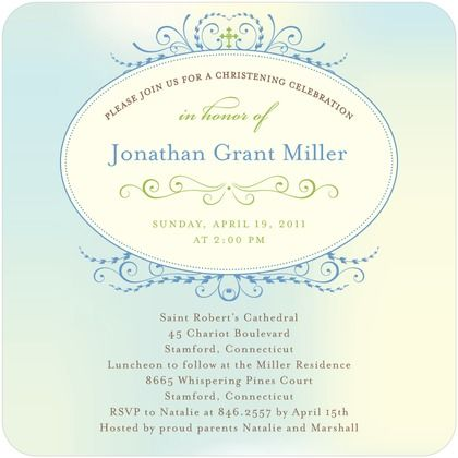 Watercolor Blend - Baptism, Christening Invitations - Hello Little One - Sky Martini - Blue : Front