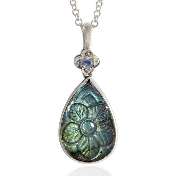 Emma Chapman Jewels - Samsara Labradorite Carved Pendant (€180) ❤ liked on Polyvore featuring home, lighting, ceiling lights, handmade lamps, flower lamp, flower lights, flower stem and salt lights