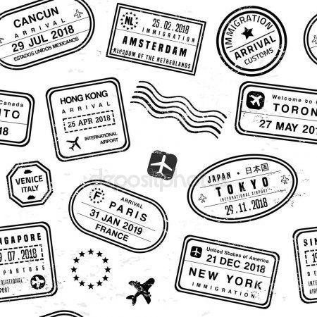 Selos De Viagem Graficos Vetoriais Travel Stamp Passport Stamps Travel Stamps