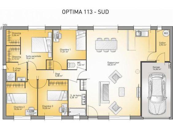 plans de maison modle optima maison traditionnelle de plain pied de 113m2 pinterest maison modle maisons traditionnelles et plain pied - Plan Maison De Plain Pied 3 Chambres